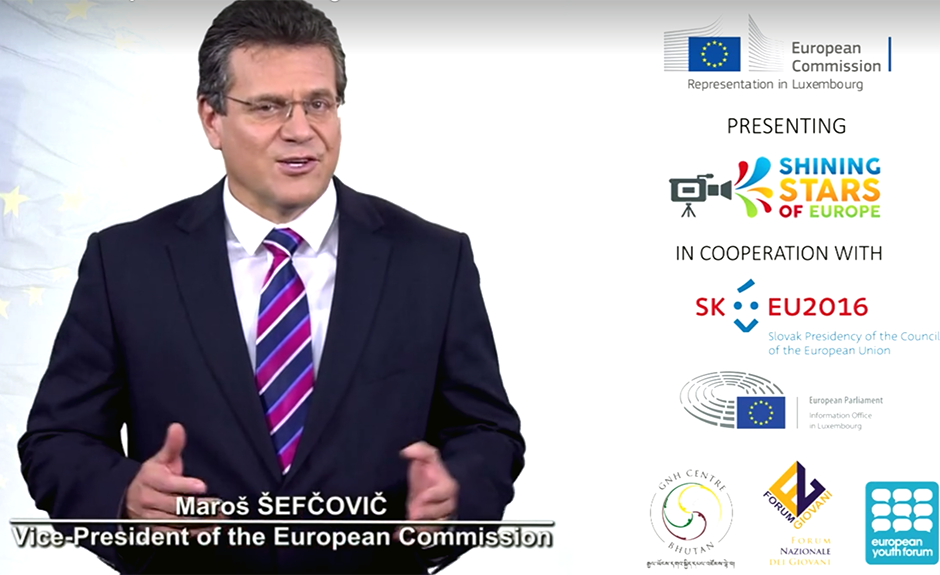 Maroš Šefčovič, Vice-President of the European Commission, addressing the finalists of the 2016 ed.